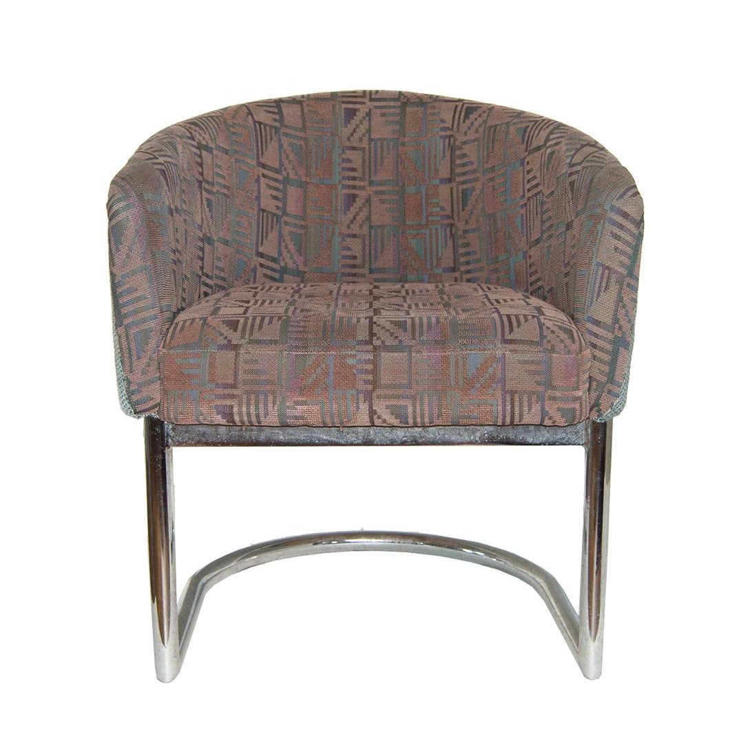 Chrome Tubular Cantilever Barrel Chair In The Style Of
