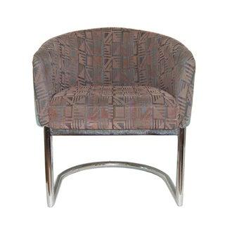 Chrome Tubular Cantilever Barrel Chair in the Style of Milo Baughman