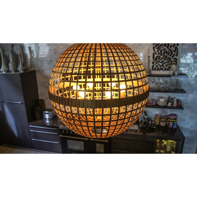 Abstract Art Deco Aerin Lauder Gold Globe Circa Lighting Chandelier For Sale - Image 3 of 12