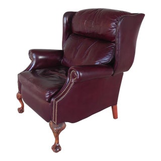 SHERRILL Motion Craft Chippendale Style Leather Wing Back Recliner Arm Chair