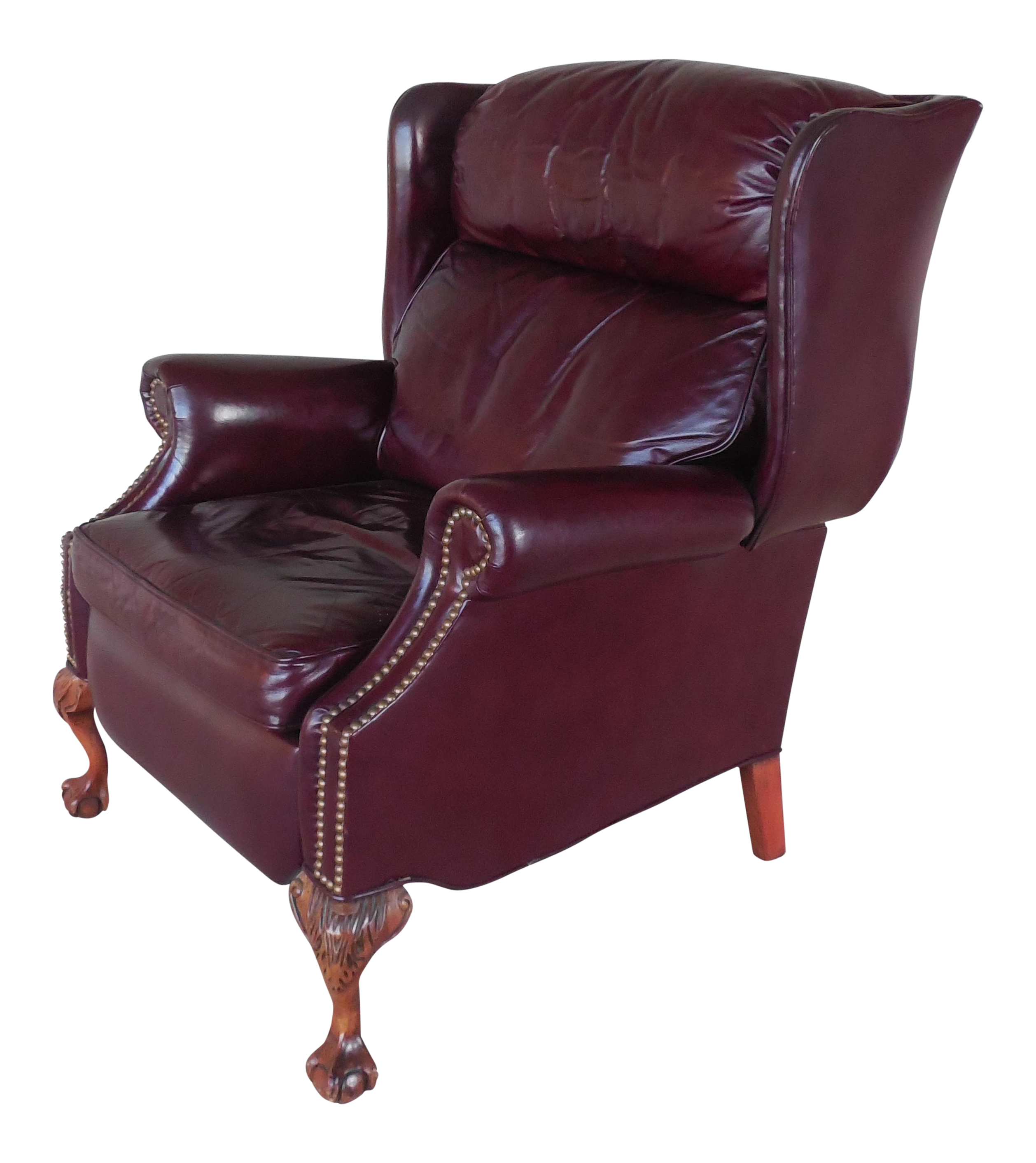 Genial SHERRILL Motion Craft Chippendale Style Leather Wing Back Recliner Arm Chair