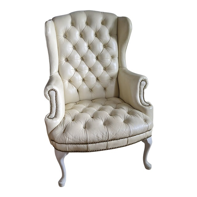 Mid-Century Chesterfield Tufted White Leather Wingback Chair For Sale