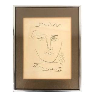 """1960s Vintage Pablo Picasso """"Pour Robie"""" Signed Original Etching Print For Sale"""