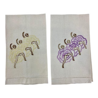 Vintage Linen Tea Towels of Can-Can Dancers - a Pair For Sale
