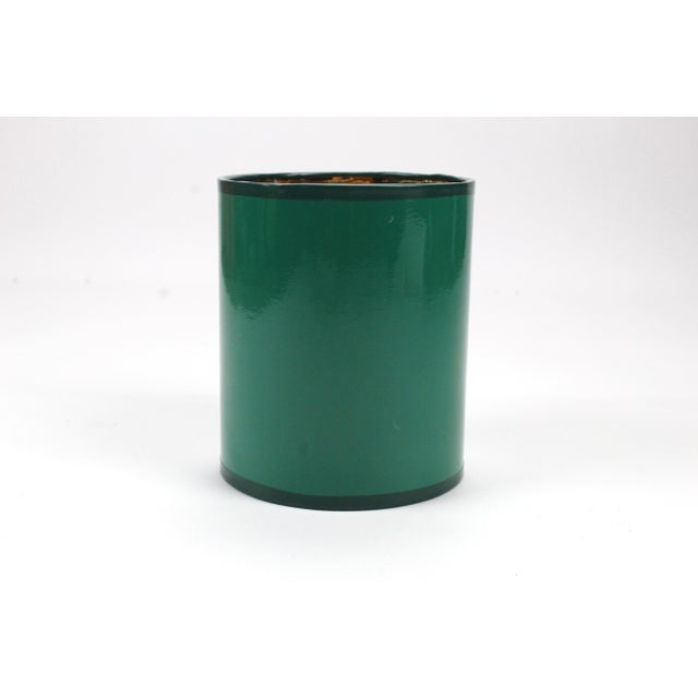 Modern Mini High Gloss Dark Green Drum Lamp Shade With Gold Lining For Sale - Image 3 of 5