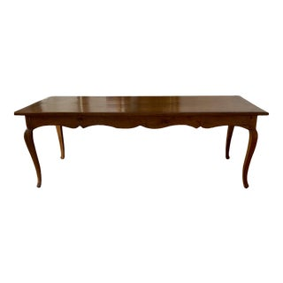 Antique French Dining Table With Carved Apron and Cabriole Legs For Sale