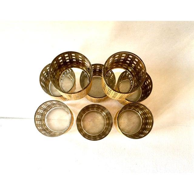 1960s Gold Gilt Cane Patterned Motif Cocktail Glasses - Set of 8 For Sale - Image 5 of 7