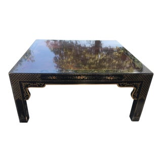 Lacquered Chevron Wood Top Coffee Table