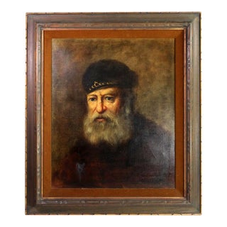 "Antique Dutch Oil Painting ""Old Man"" Signed by Franz Schoorman For Sale"