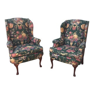Green & Blue Floral Upholstered Wingback Flare Chairs- A Pair For Sale