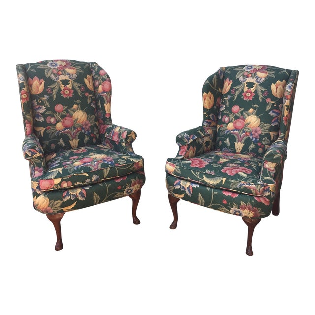 Green & Blue Floral Upholstered Wingback Flare Chairs- A Pair - Image 1 of 7