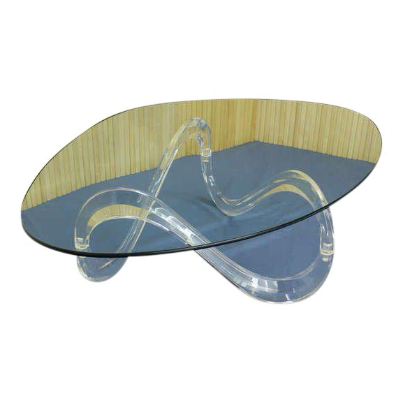 Luxury Kidney Shaped Glass Top Lucite Base Coffee Table Decaso