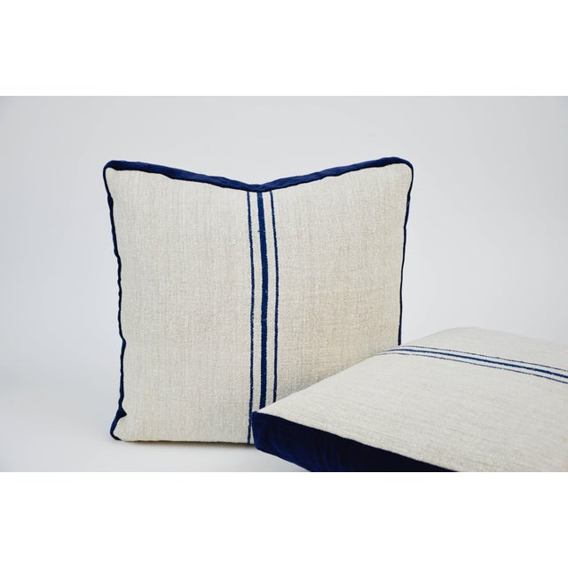 Modern Modern Grain Sack and Velvet Back Pillows - a Pair For Sale - Image 3 of 4