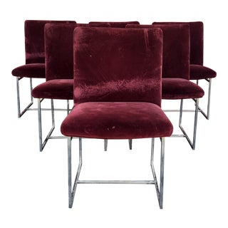 1960s Vintage Milo Baughman Style Maroon Upholstered Dining Chairs- Set of 6 For Sale