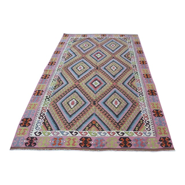 "Vintage Turkish Kilim Rug - 4'11"" X 8'2"" - Image 1 of 6"