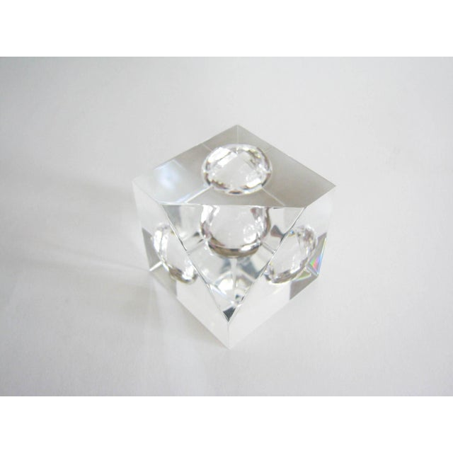 Steuben Vintage Steuben Crystal Floating Spheres Cube Prism Paperweight Signed For Sale - Image 4 of 13