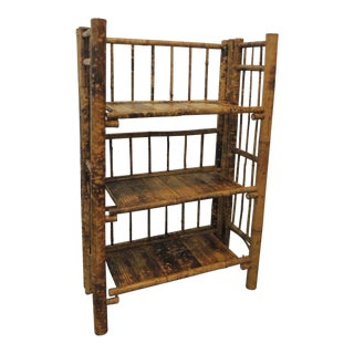 Vintage Bamboo Tortoise Pattern on Folding Three Tiers Shelves/Étagère For Sale
