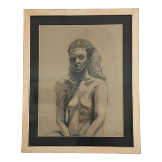 Joyce Dee Female Nude Large Original Charcoal Drawing For Sale