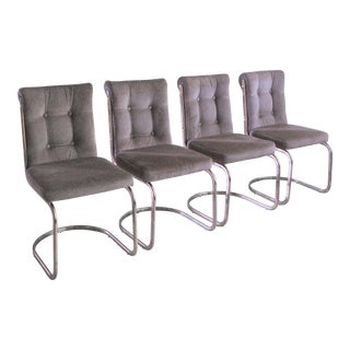 Vintage Mid Century High Back Hollywood Regency Slipper Chair- Set of 4 For Sale