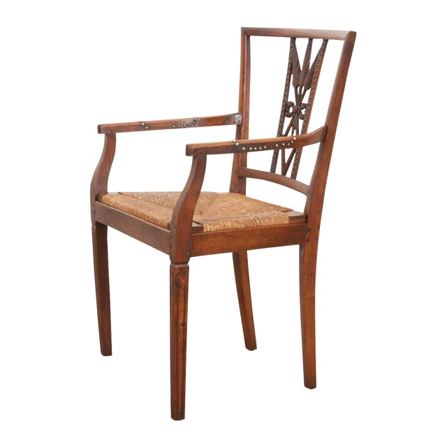 French 19th Century Louis XVI Style Rush-Seat Armchair For Sale