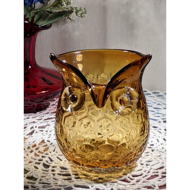 Mid 20th Century Blown Amber Glass Owl Shaped Candle Holder Vase For Sale - Image 5 of 13