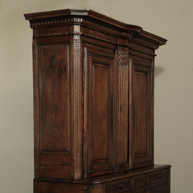 Brown 18th Century Country French Walnut Louis XVI Buffet a Deux Corps For Sale - Image 8 of 13