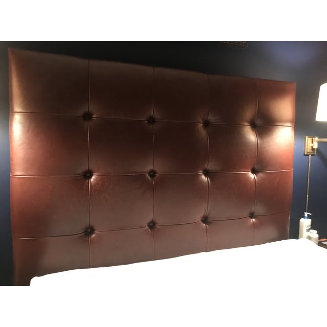 Boho Chic Contemporary Brown Tufted Leather Headboard For Sale - Image 3 of 3