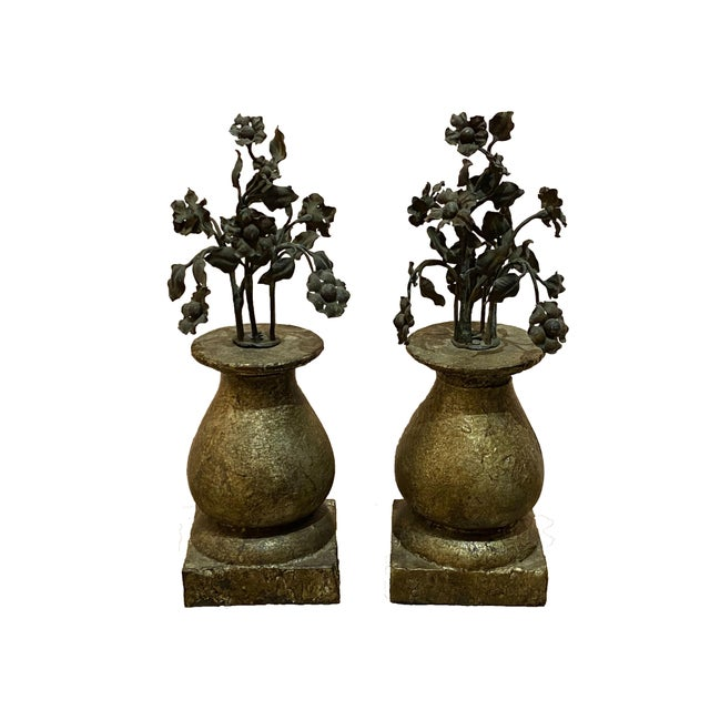 Metal 19th Century Finials With Iron Decoration - a Pair For Sale - Image 7 of 7