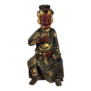 Late 18th Century Antique Chinese Carved Gilt Gold Wood Alter Statue For Sale