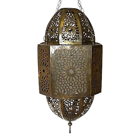 Moroccan Hand-Carved Brass Pendant For Sale