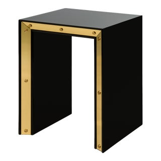 Flair Collection Small Edge Side Table in Black / Brass For Sale
