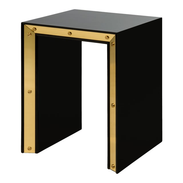 Small Edge Side Table in Black / Brass - Flair Home for The Lacquer Company For Sale