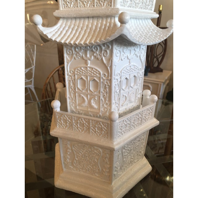 Vintage pagoda statue, newly lacquered in a white gloss. No chips or breaks.