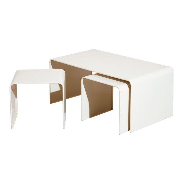Beige Waterfall Coffee Table and Side Table Set - 3 Pc. Set For Sale