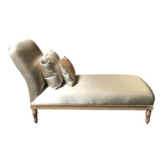 Antique Satin Upholstered Chaise For Sale