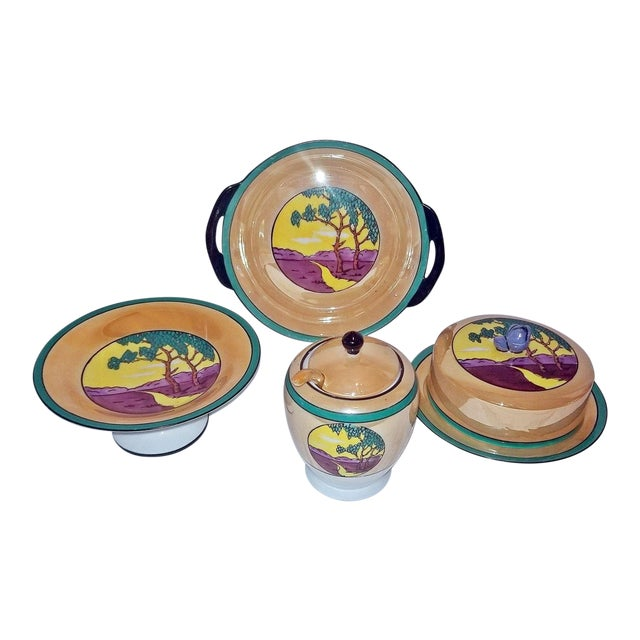 Vintage Noritake Deco 4 Piece Set For Sale