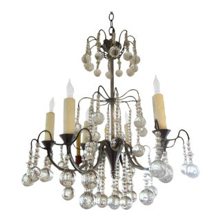1940's Vintage French Louis XVI Style Crystal Chandelier For Sale