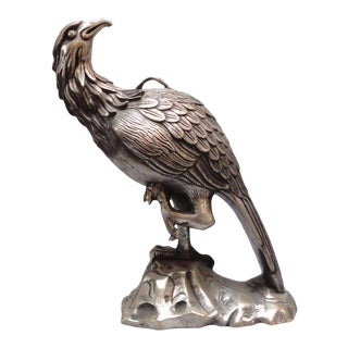 Handmade Detail Chinese Silver Coating Phoenix Eagle On Rock Statue