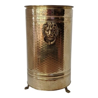 Vintage Brass Umbella Stand With Lions Heads For Sale