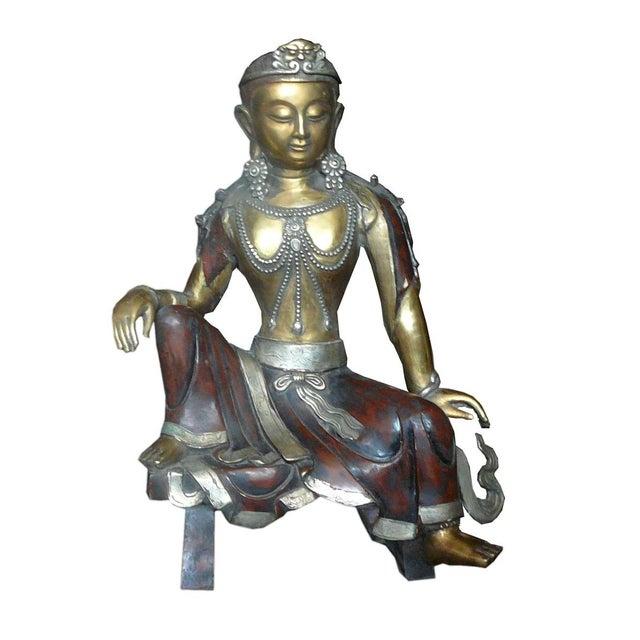 Chinese Handmade Metal Tara Statue For Sale