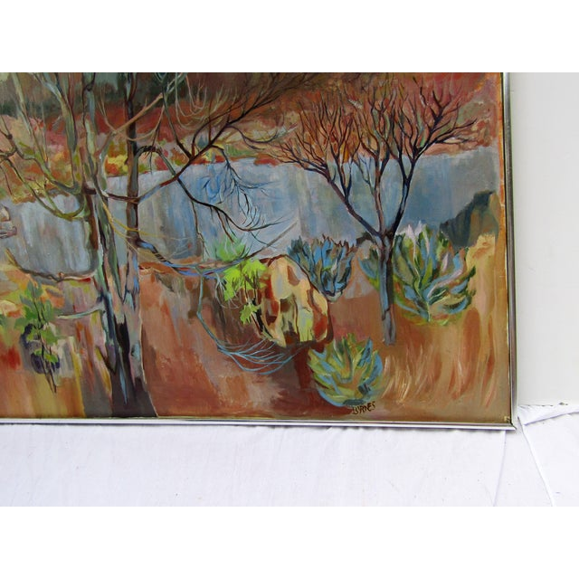 Stunning Light accented Landscape by artist K Byrns, signed on back in pencil. The artist was active in this style in the...
