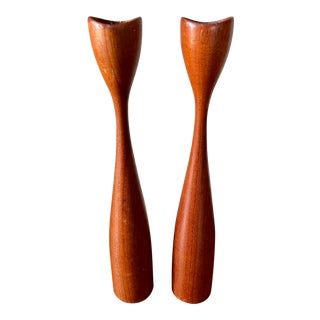 Mid Century Raymor Teak Candle Holders- a Pair For Sale