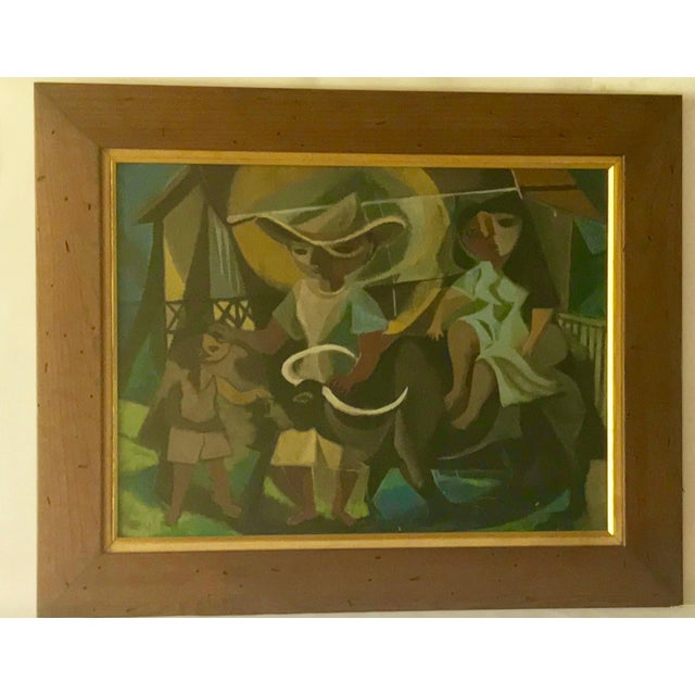 This is a wonderful mid-century oil on hardboard painting. The piece depicts abstracted figures: a man and a boy leading...