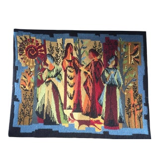 Vintage French Four Season Needlepoint Tapestry