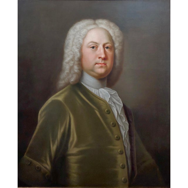 Figurative Portrait of an English Aristocrat in Green Coat-18th Century Oil Painting Possibly by Thomas Hudson For Sale - Image 3 of 11