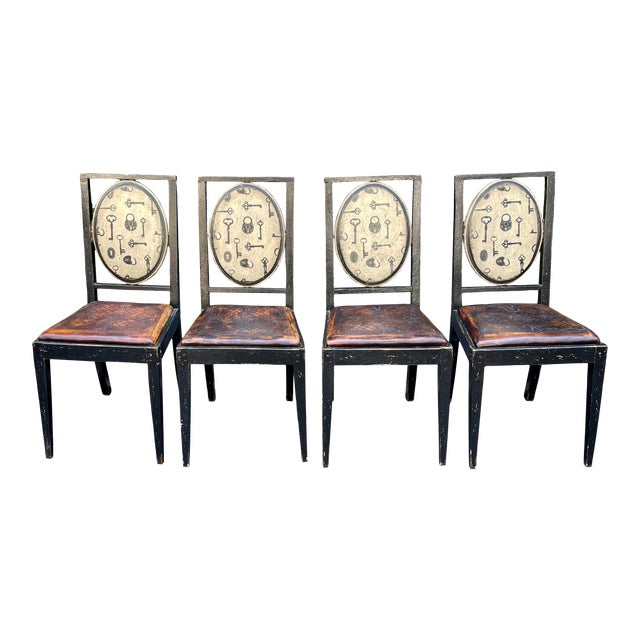 Equator Furniture Company Rustic Tooled Leather Painted Dining Chairs For Sale