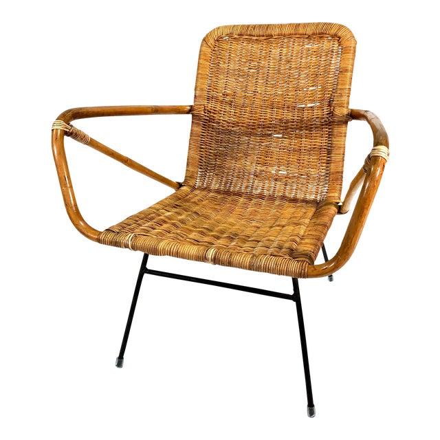 Mid Century Italian Rattan Lounge Chair For Sale
