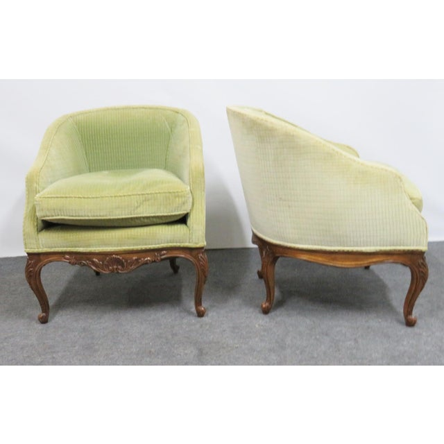 French Louis XV Fruitwood Carved Club Chairs - a Pair For Sale - Image 3 of 6