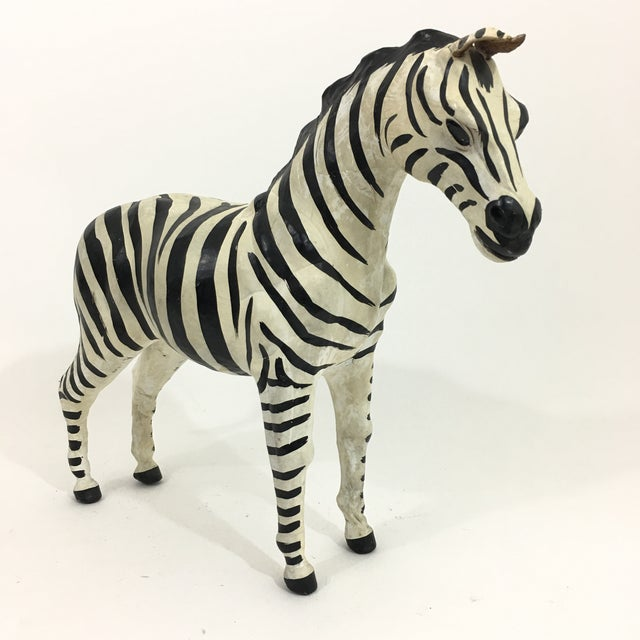 Hand Painted Leather Zebra Figure For Sale - Image 10 of 10