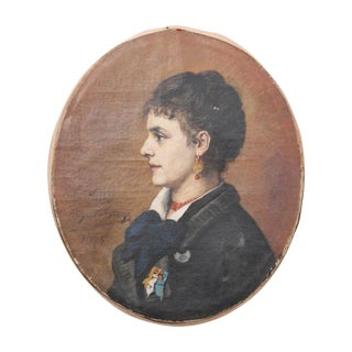 French 19th Century Profile Portrait Oval Oil Painting For Sale
